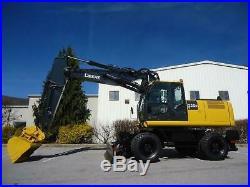 2009 John Deere 220dw 4x4 Rubber Tire Mobile Excavator Push Blade Aux Hydraulics