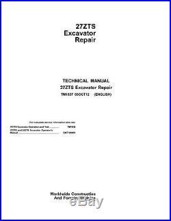 JD John Deere 27ZTS Excavator Repair SERVICE REPAIR MANUAL TM1837 CD