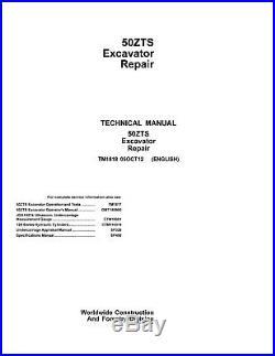 JD John Deere 50ZTS Excavator Repair SERVICE REPAIR MANUAL TM1810 CD