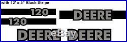 John Deere 120 Excavator Decal Set with 12' x 5 Black Stripe JD Decals