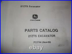 John Deere 27zts Excavator Parts Manual Book Catalog Pc-2784