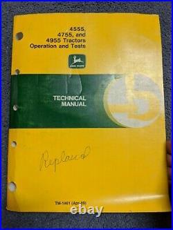 John Deere 4555 4755 4955 Tractor Operation Test Service Technical Manual TM1461