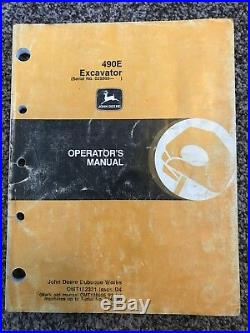 John Deere 490E Hydraulic Excavator Owner Operator Maintenance Manual OMT152331