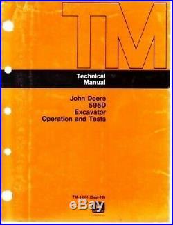 John Deere 595D Excavator Technical Shop Service Manual Operation Test
