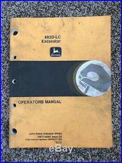 John Deere 892D LC Excavator Owner Operator Maintenance Manual OMT144583