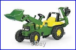 Licensed Rolly Junior John Deere Tractor with Frontloader & Rear Excavator