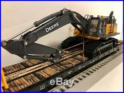 MTH Premier 60' Flat car with CUSTOM John Deere 480G Excavator Ertl WIDE LOAD